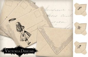 Printable Alice in Wonderland Envelopes by VectoriaDesigns