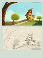 story book landscape illustration series by eydii