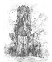 Crumbling Tower by MIKECORRIERO