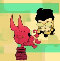 Invincible and Hellboy by EvanBryce