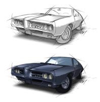 69' Pontiac GTO - colored sketch by Lizkay