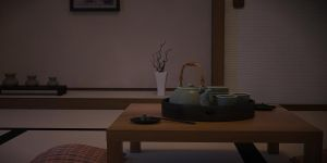 Japanese Tea Set Night Time by neonbulbs