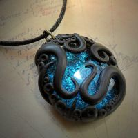 Tentacled Glass Necklace (turquoise) by CthulhuJewellery