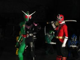 Shinken Red X Kamen Rider W by nikocruz