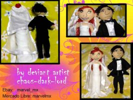 bride and groom plushie novios by chaos-dark-lord