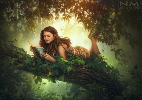girl who loves to read by Makusheva
