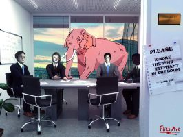 The Pink Elephant in the Room by FlitsArt