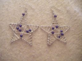 Silver Star and purple earring by MadeByJanine