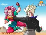 Latika and Trunks Training - Commission by Neokoi