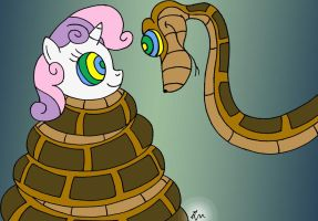 Kaa and Sweetie Belle Painted by lol20