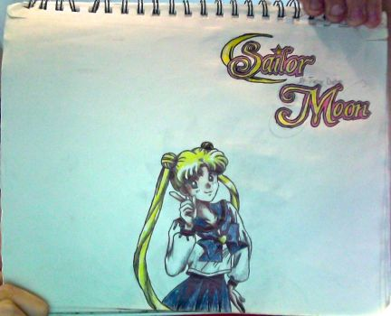 Usagi Tsukino + SailorMoon logo drawing(Unflipped) by TannMann64