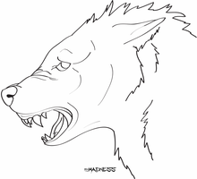 wolf lineart by its-madness