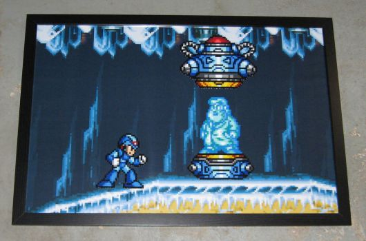Perler MegaMan X and Dr. Light by Dlugo1975