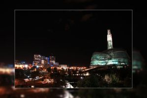 Downtown Winnipeg Skyline at Night by Joe-Lynn-Design