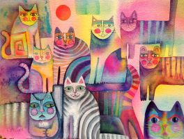 Abstract cats by karincharlotte
