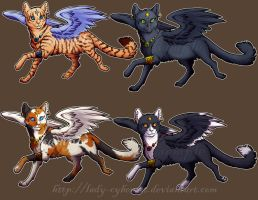 Winged Kitty Stickers 2 by lady-cybercat