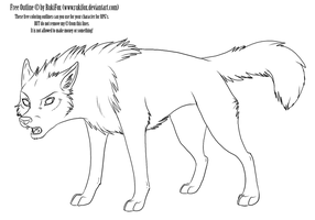adult wolf outline by RukiFox