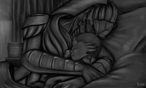 ME3 - Nap Time (Greyscale) by LatinRabbit