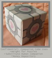 Companion Cube Coin Bank by craftysorceress