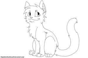 Cat line art (3rd version) by Obsidianthewolf