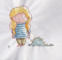 Little Girl and Her Dinosaur. by LilyLiddellink