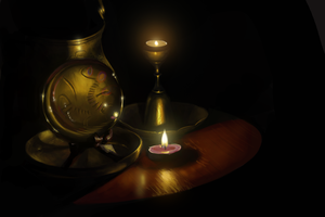 Candles Brass and Crystal Ball by kingaby