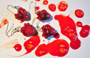 clay realistic heart earings by cihutka123