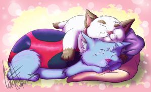 Catbug and Puppycat Snuggles by EveHarding92