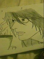 L or Ryuzaki sipping on Tea from Death Note by captonstu