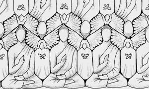 Buddhas + Angels Tessellating by popeyethecat