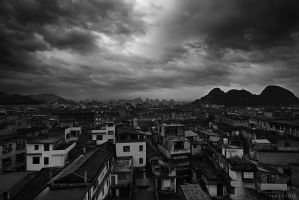 Guilin Rooftop Overlook BW by AzureSnow