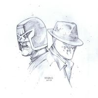 Sketchbook mashup - Dredd and Rorschach. by FlowComa
