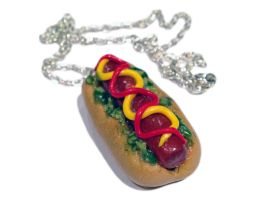 Hot Dog Necklace/Charm by delectablycharming