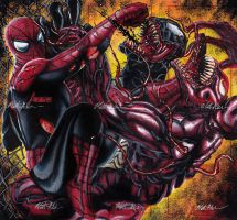 Spidey Vs. Venom and Carnage by Twynsunz