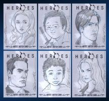 Heroes sketch cards by pungang