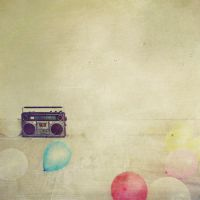 red balls and an old radio 3 by cecilia-ivy