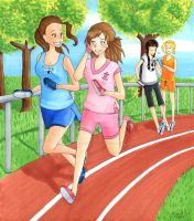 CM: 4 Girls At The Track by Apollyon2011