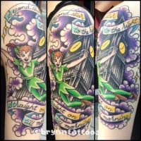 Peter Pan Half Sleeve by brynntattoos
