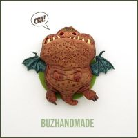 Mud Dragon #6 - Polymer Clay Charm by buzhandmade