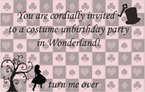 Alice in wonderland themed Invitations(front) by icute20