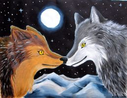 Wolves in the moonlight by clacier