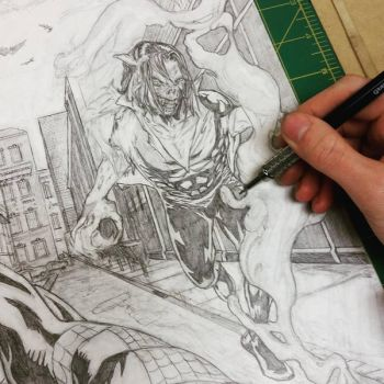 Spider-Man Morbius Cover Sample Pencils WIP by mindywheeler