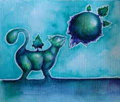 Cat smelling a planet by theemeraldruby