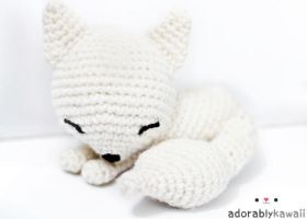 white sleepy fox amigurumi by adorablykawaii