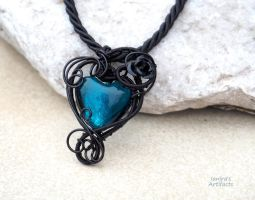 Turquoise lampwork glass wire wrapped pendant by IanirasArtifacts