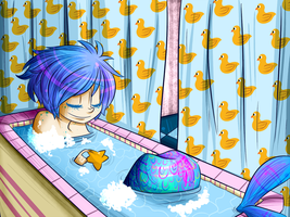 Merboy's Bath time by BlubberBooty