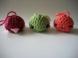 Trio of Crochet Pals by mumbleberrystew