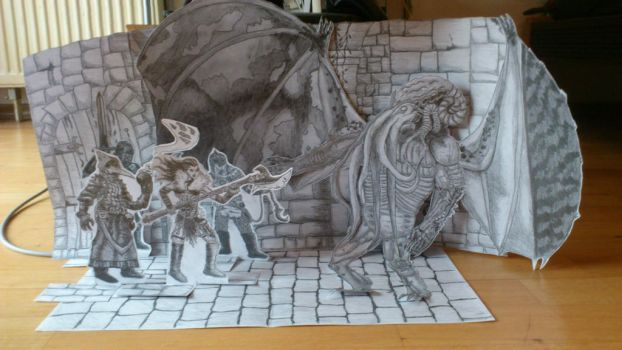 Darkest Dungeon Diorama with Cthulhu by borbarad666