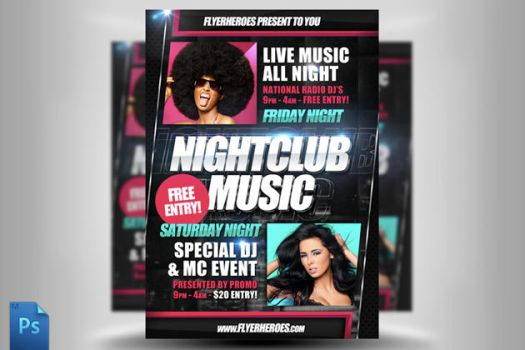 Nightclub Music Flyer Template by quickandeasy1