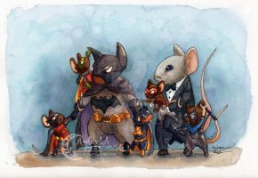 Batmouse and Robins by AlmightyHighElf